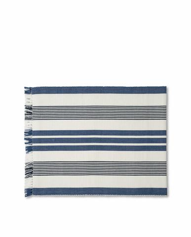 Striped Fringe Runner White/blue, Lexington