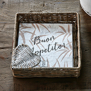 Rustic Rattan Heart Napkin Holder
