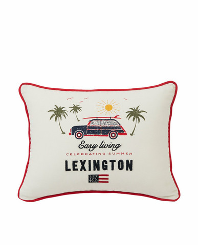 Surf Car Cotton Pillow Cover, White, Lexington