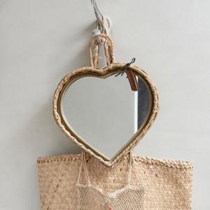 Rustic Rattan Heart Mirror, Riviera Maison