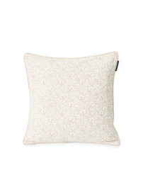 Printed Flower Cotton Canvas Pillow Cover, Light Beige/Pink, Lexington