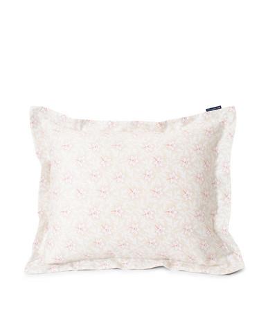 Light Beige/Pink Flower Print Cotton Sateen Pillowcase, Lexington