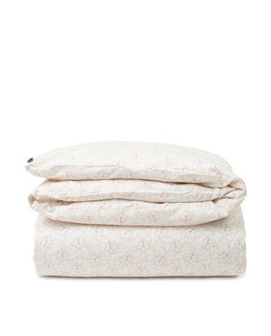 Light Beige/Pink Flower Print Cotton Sateen Duvet Cover, Lexington