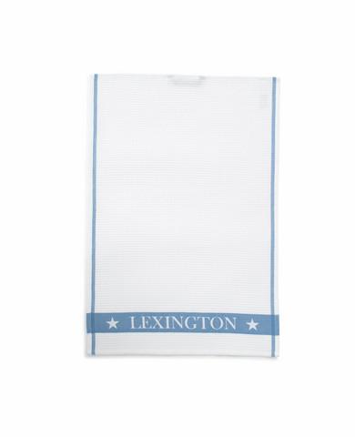 Cotton Waffle Logo Kitchen Towel, White/Blue 50x70, Lexington