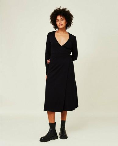 Elle Interlock Wrap Dress, Black, Lexington