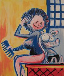 Viivi ja Wagner -serigrafia: Naisen takana on sika