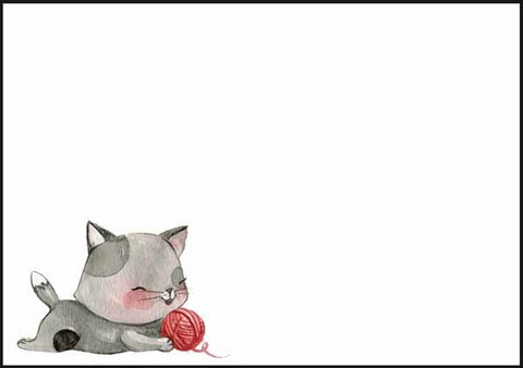 Cat and ball of wool - envelope (C6)