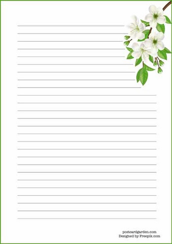 White flowers - writing papers (A5, 10s)