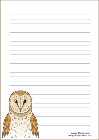Brown owl - writing papers (A5, 10s)