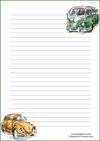 Cars - writing papers (A5, 10s)