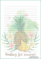 Ananas - kirjepaperit (A5, 10s) #1
