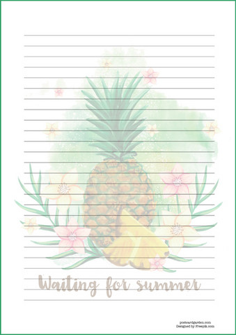 Pineapple - writing papers (A4, 10s) #1