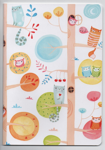 Cute cats and owls - notebook (A5)