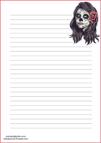 Girl skull - writing papers (A5, 10s)