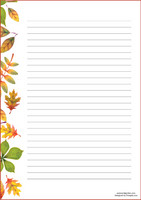 Autumn leaves - writing papers (A4, 10s, lined)