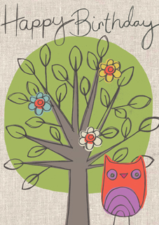 Happy birthday -  owl and tree