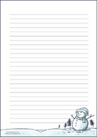 Snowman - writing papers (A4, 10s, lined)