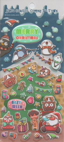 Santa Claus is coming to town - sticker sheet (puffy stickers)