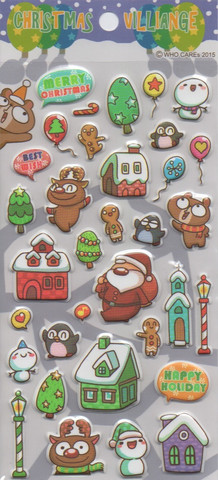 Christmas village - sticker sheet (puffy stickers)