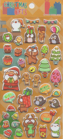 Christmas gifts - sticker sheet (puffy stickers)