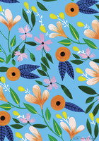 Flowers on blue background