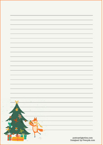 Fox and Christmas tree - writing papers (A5, 10s)