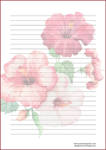 Watercolor hibiscus - writing papers (A4, 10s, lined)