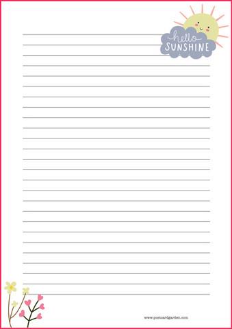 Hello sunshine - kirjepaperit (A5, 10s)