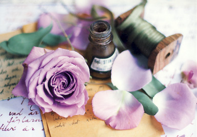 Rose and old bottle