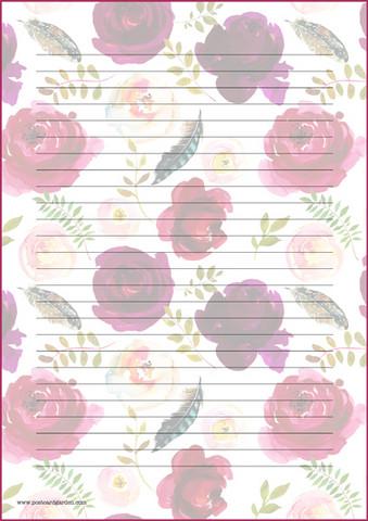 Ruusut ja höyhenet - kirjepaperit (A5, 10s)
