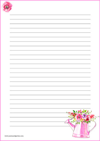 Pink watering can - writing papers (A4, 10s)
