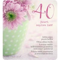 40 - juuri sopiva ikä! (13x14cm, 2-os, sis. kuoren)