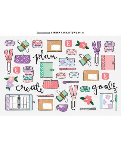 Sinikara Stationery - Pastel Planner Goodies