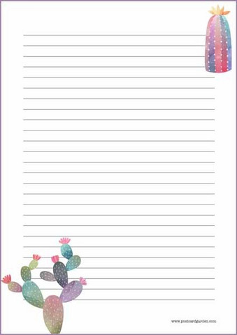 Kaktukset - kirjepaperit (A5, 10s) #2