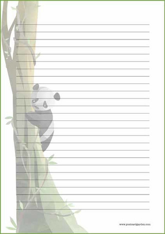 Panda on the tree - writing papers (A4, 10s)