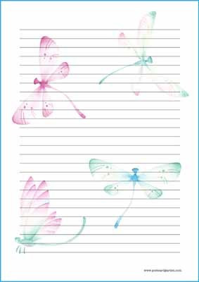 Dragonflies - writing papers (A4, 10s)