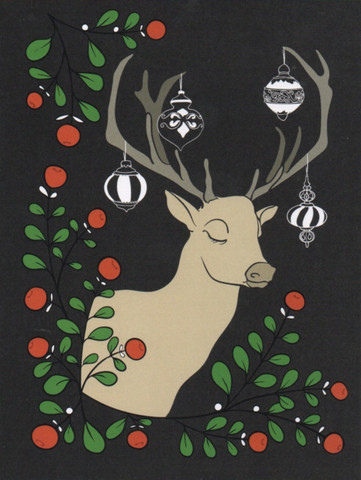 Christmas card 2018, 13x17cm - Reindeer (black)