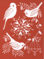 Christmas card 2018, 13x17cm - Birds (red)