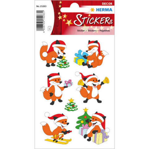 Christmas fox - stickers (3 sheets)