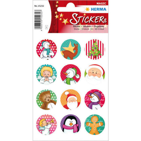 Rounded Christmas stickers - sticker sheet
