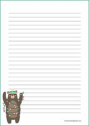 Christmas bear - writing papers (A4, 10s) #1