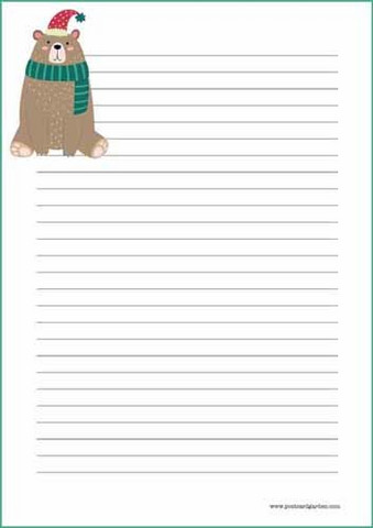 Christmas bear - writing papers (A4, 10s) #2