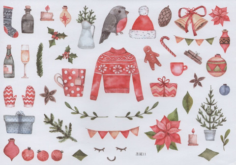 Christmas - sticker sheet #2 (one big sheet, needs to cut)