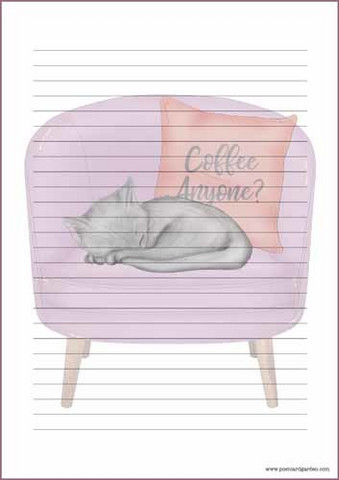 Cat on chair - writing papers (A5, 10s)