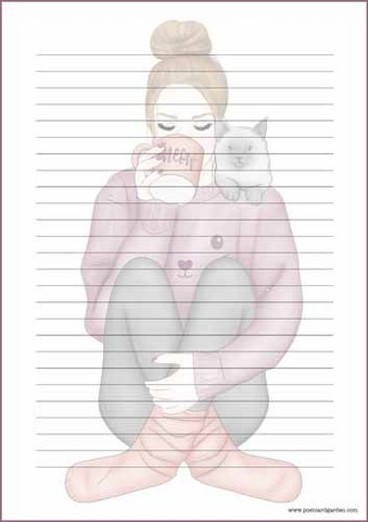 Girl and cat - writing papers (A5, 10s) #1