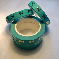 Narrower washi tape - Foiled bows, blue (0.8cm x 10m)