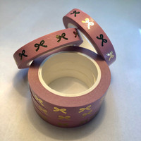 Narrower washi tape - Foiled bows, pink (0.8cm x 10m)