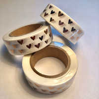 Washi tape - Foiled hearts (1.5cm x 10m)