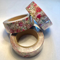 Washi tape - Foiled roses (1.5cm x 10m)