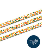 Sinikara Stationery washi tape - Yellow flowers (1.5cm x 10m)